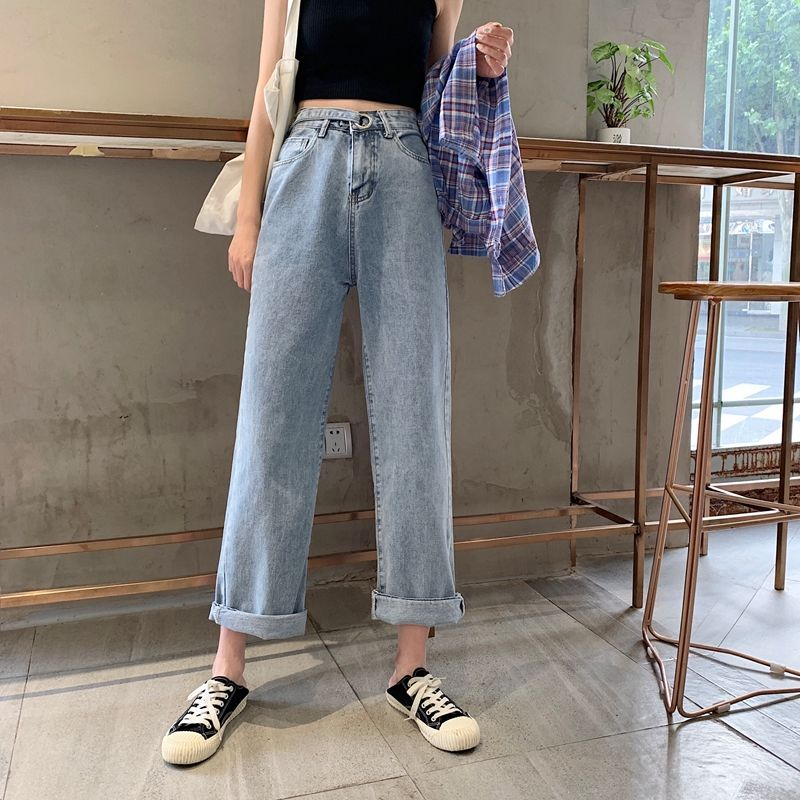 2020 New Summer Korean Version Of The Ins Design High Waist Straight Jeans Female Students Wild Loose Was Thin Wide Leg Trousers