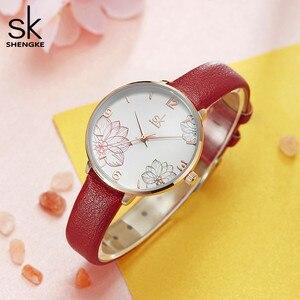Image 2 - Shengke 2019 ผู้หญิงนาฬิกาสบายๆควอตซ์นาฬิกาสายหนังกันน้ำนาฬิกาข้อมือของขวัญ Zegarek Damski