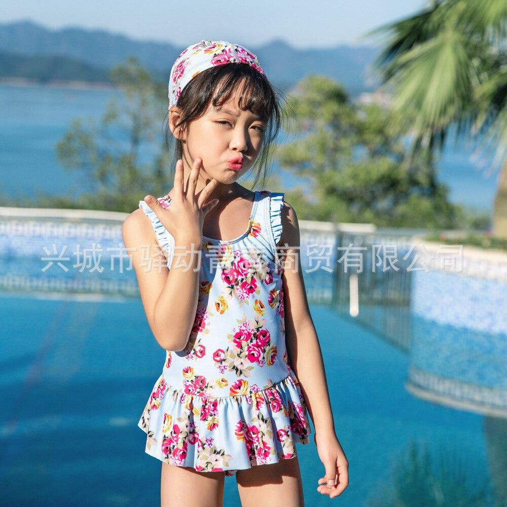 Export Children Siamese Swimsuit Female Baby Floral Skirt-GIRL'S Swimsuit Send Swim Cap