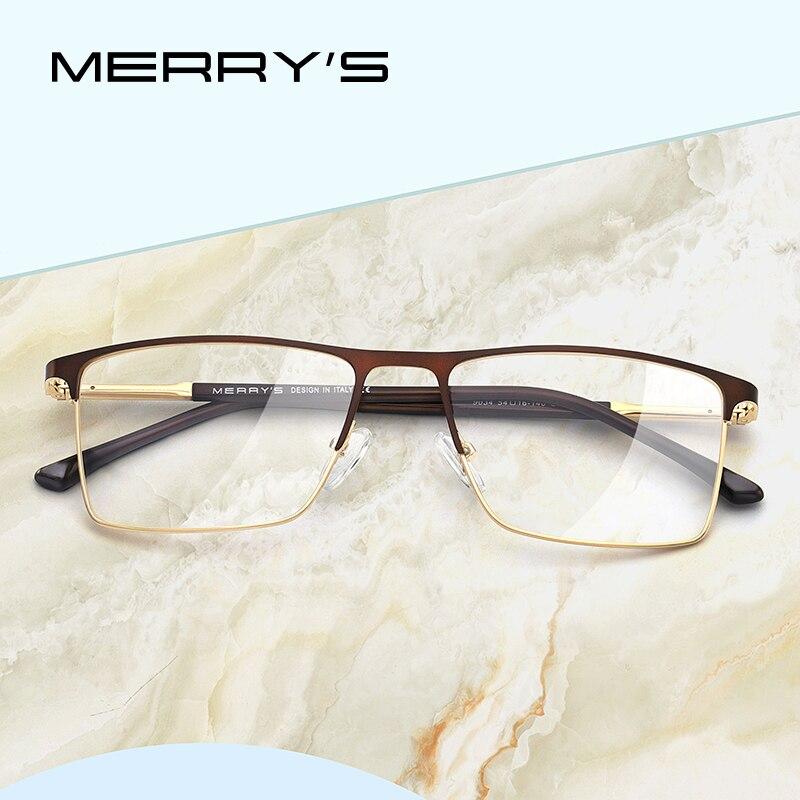 MERRYS DESIGN Men Luxury Glasses Frame Male Square Optical Myopia Prescription Hyperopia Alloy Eyeglasses S2034