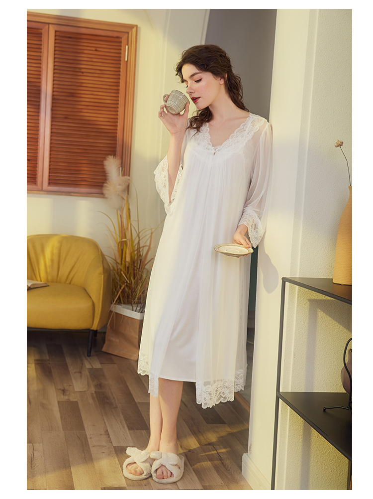 Palace style lace night dress princess lace silk gauze Nightdress retro long sleeve home Nightgowns Sleepshirts Lingerie