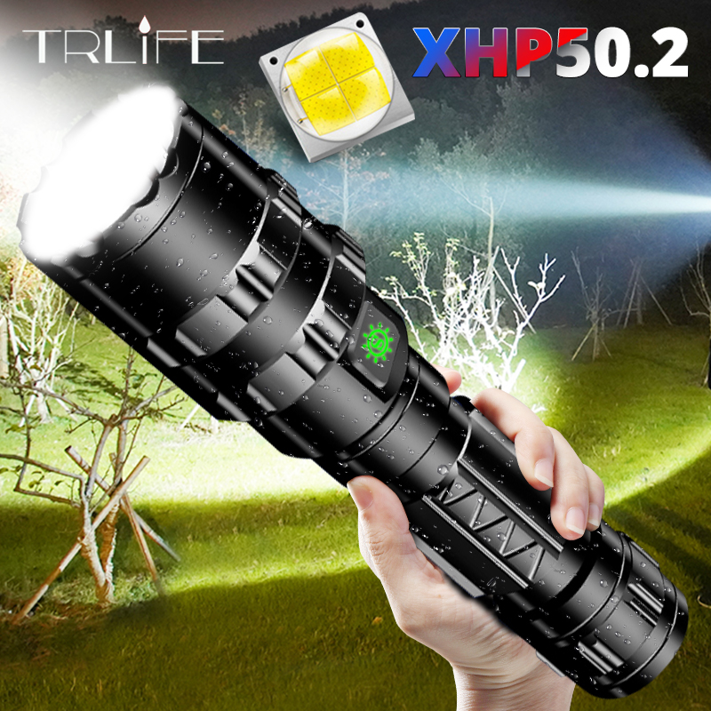 Most Powerful XHP50.2 LED Flashlight Xlamp Aluminum Hunting L2 Waterproof 5Modes Torch Light Lanterna 18650 26650 Battery