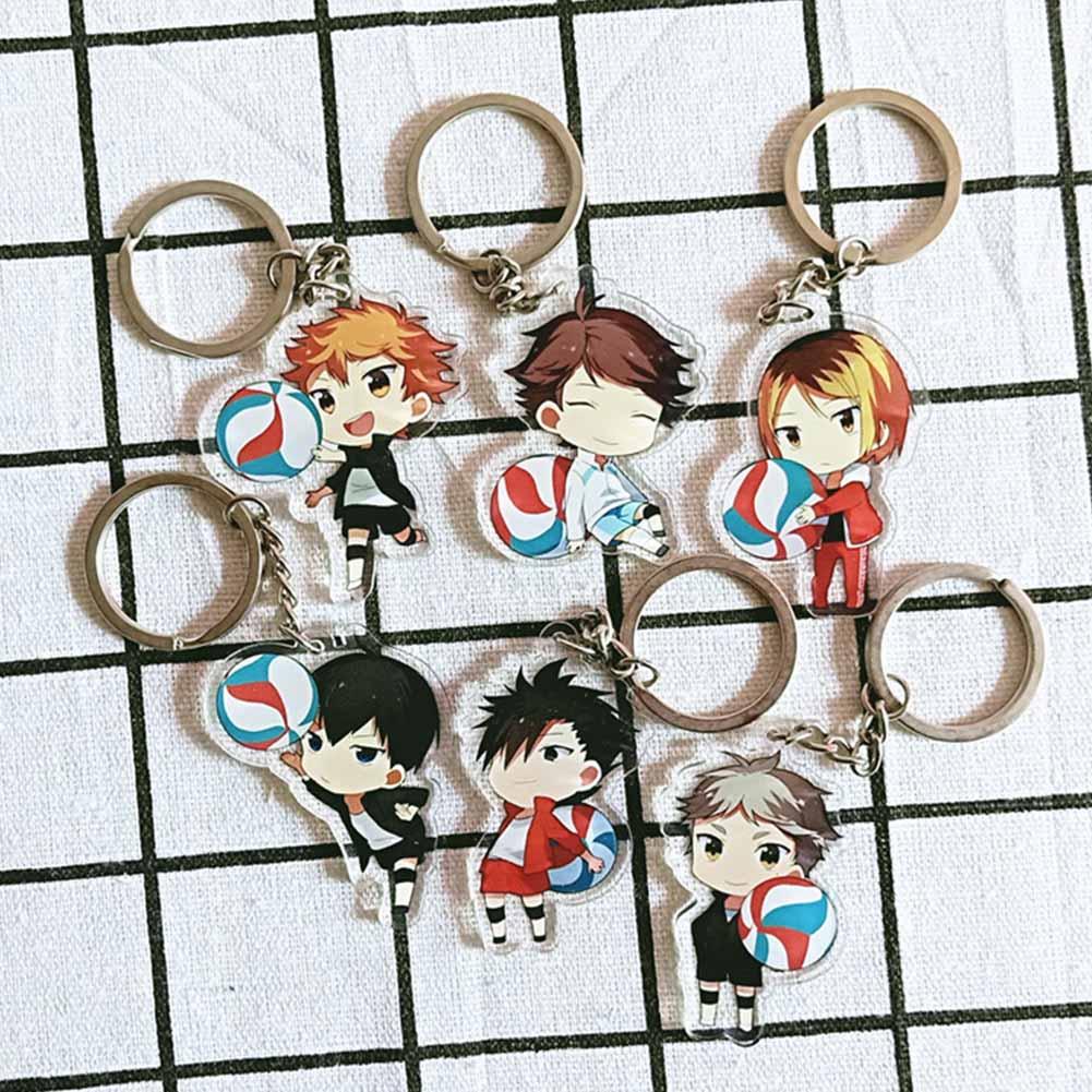 Kawaii Manga Figure Key Ring Haikyuu Hinata Syouyou Cosplay Props Keychain Acrylic Key Chain Christmas(China)