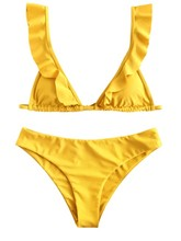 A flounce Bikini, a solid gold two-piece, sexy back-belted holiday swimsuit flounce sleeve solid top