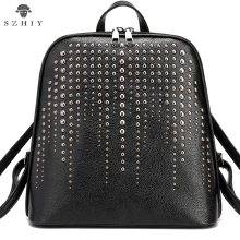 women Backpack PU Leather Bag Punk Bag small rivet bag 2019 Backpacks For Teenage Girls Designer ladies brand backpack women