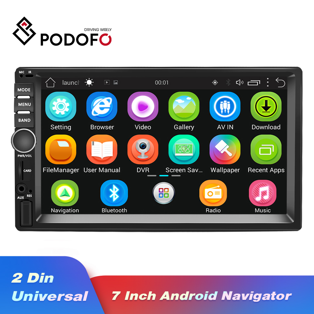 Podofo 2din Car Radio Stereo Android GPS Navigation 7