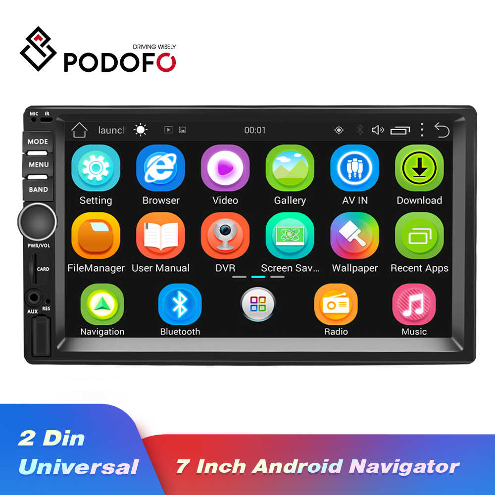 "Podofo 2din auto Radio estéreo navegación GPS Android 7 ""1024*600 Universal Car Player Wifi Radio Bluetooth USB reproductor de Audio sin DVD"