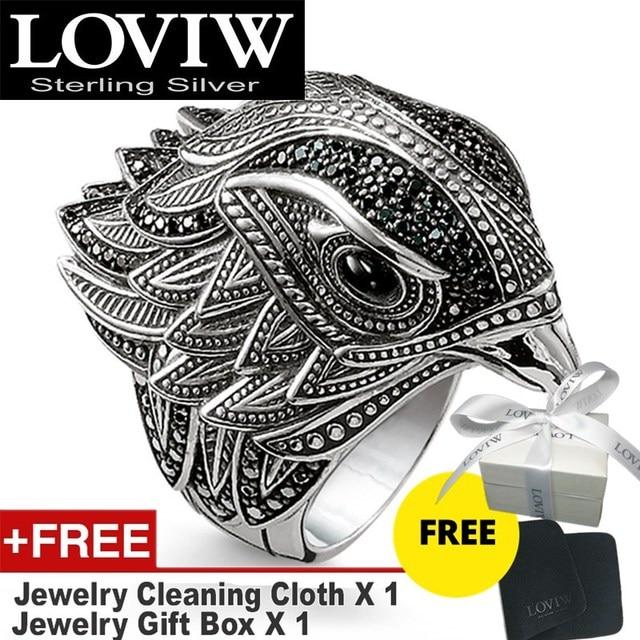 أنيقة فالكون خاتم كبير في 925 فضة العصرية هدية للنساء والرجال ، قطرة الشحن نمط شحن مجاني غرامة مجوهرات