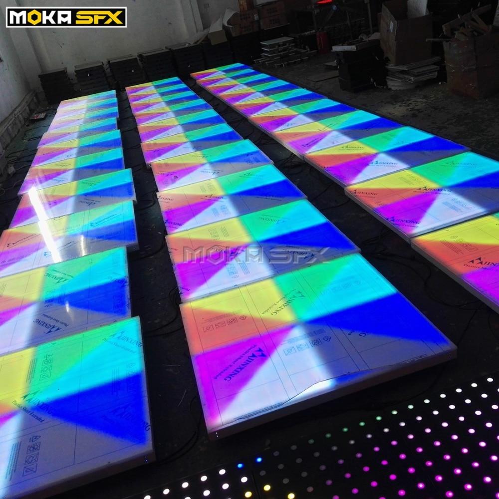16 sztuk/partia 1m * 1m parkiet taneczny led RGB DMX512 parkiet taneczny led na ślub Party disco parkiety w Oświetlenie sceniczne od Lampy i oświetlenie na title=
