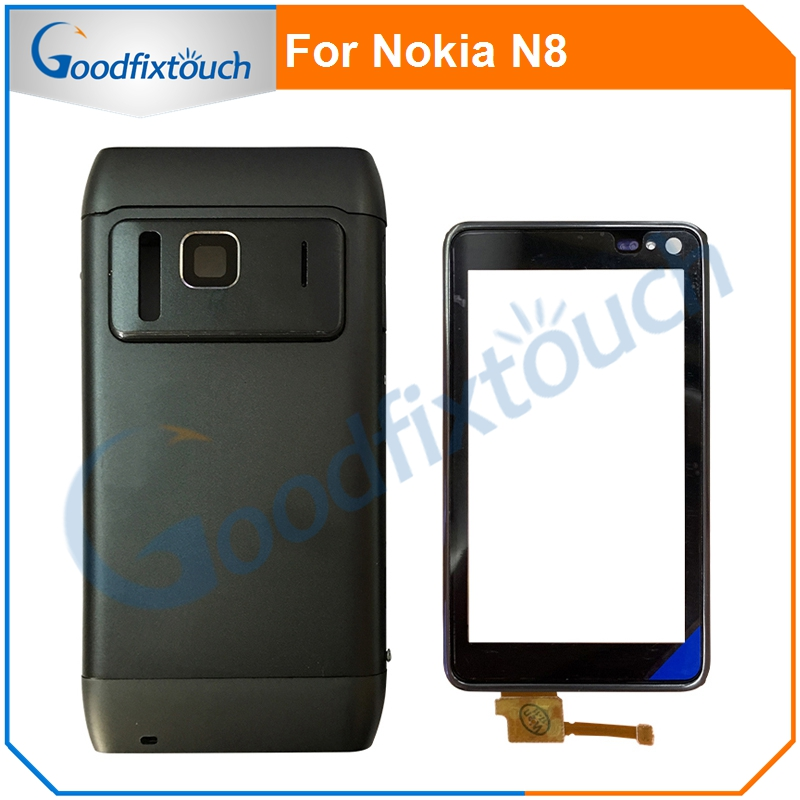 For Nokia N8 8 Back Battery Cover Back Cover Battery Door Housing Rear Case + Frame + Small Parts Housing Assembly Touch Screen
