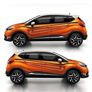 Mundo Datong deporte rayas coche pegatinas para Renault Captur TCe190 Mark Levinson lado puerta cuerpo Decoración Adhesivo Auto Accesorios