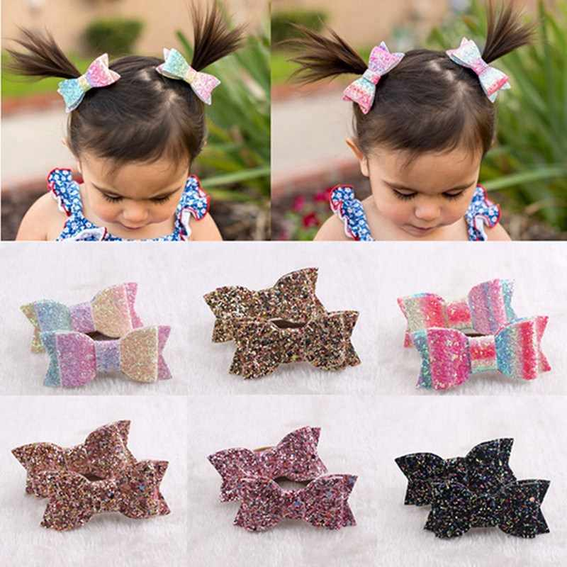 2pcs/Lot Children Hair Bow Tie Elastic Hair Band Glitter Hairbow Rope Sequin Sparkly 3 Inch Bows Girls Sweet Headwear
