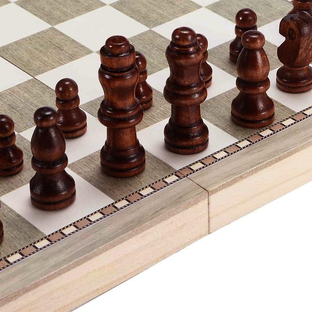 Jouet 3 en 1 pliable pour apprentissage, jouet Portable pour débutants, jeux de Backgammon, voyages, échiquier en bois, divertissement pour adultes et enfants 5