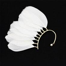 FIAZIA Bohemia Ear-hook Drop Earrings Women Jewelry Accessories Statement Bijou Feather Dangle Earrings Metal Earring Girl Gift цена и фото