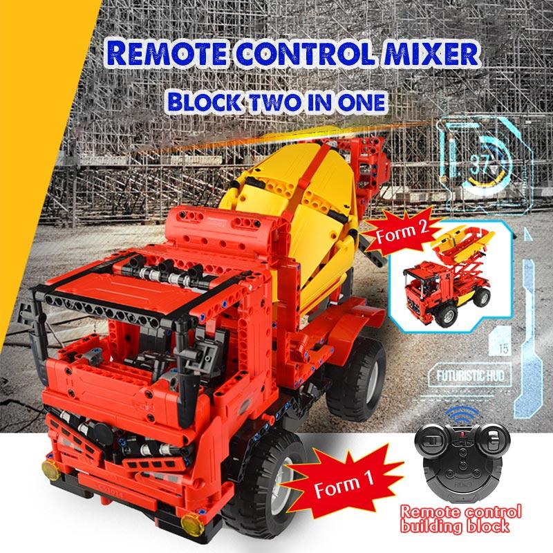 Cada 17TB0639 RC City Mixer Truck Car 2 IN 1 Building Blocks