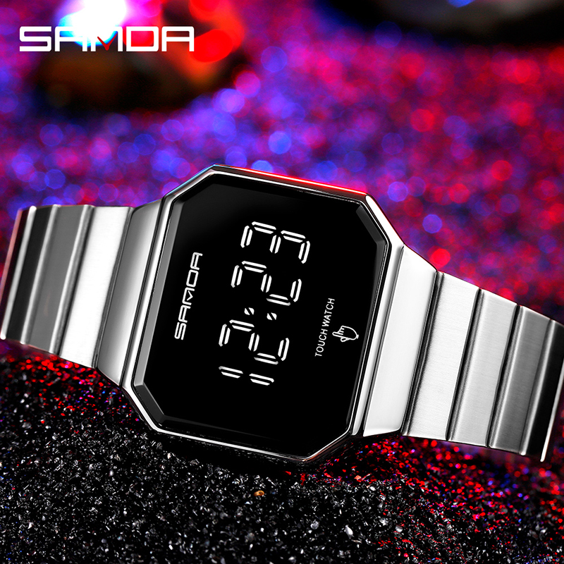 Creative Fashion Clock LED Touch Screen Watches Digital Watch Men Fashion Simple Alloy Band Electronic Wristwatches Reloj Montre 4