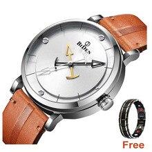 Montre daffaires pour hommes, montre bracelet de sport analogique, militaire, étanche, à Quartz, en cuir