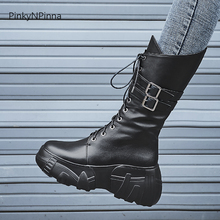 ladies middle boots genuine leather metal buckle street young motorcycle riding super high platform thick bottom runway fashion