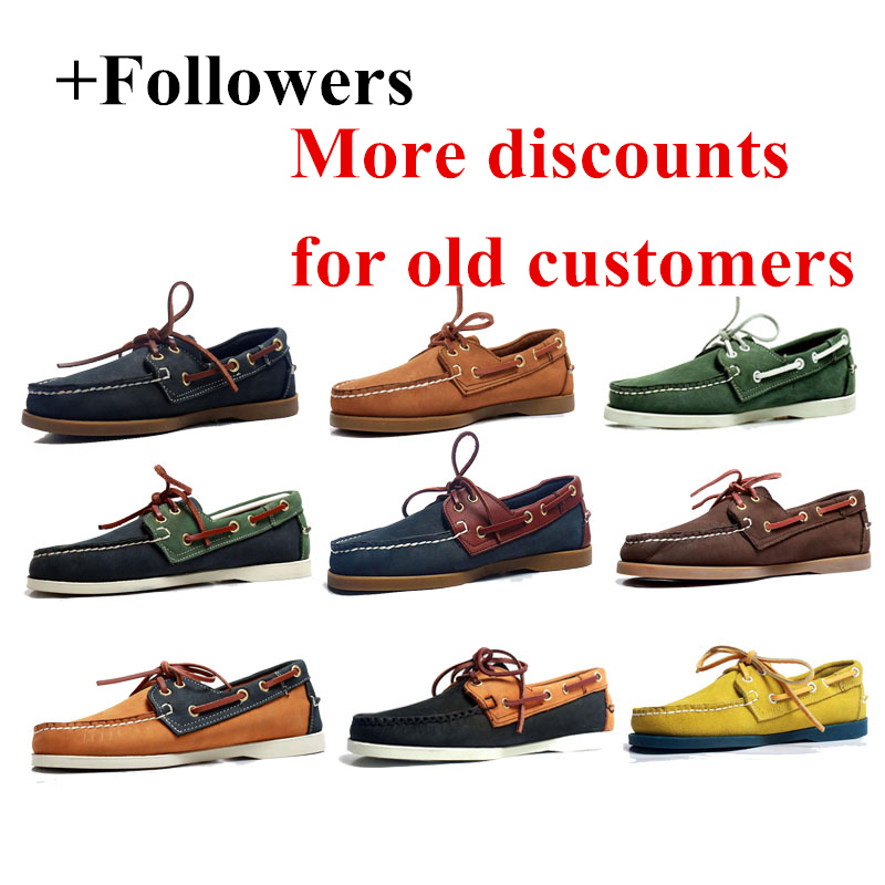 Mens Casual Genuine Leather Docksides Deck Lace Up Moccain Boat Loafers Shoes Driving Fashion Unisex Plus Size Handmade Shoes