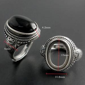 Image 3 - Gerçek saf 925 ayar gümüş doğal siyah oniks taş yüzük kadınlar için Vintage stil tay gümüş Resizable açık tip