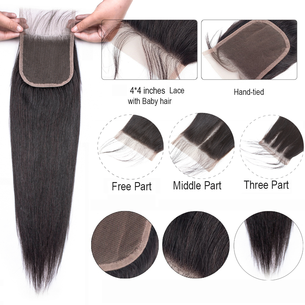 H597544315721460fbc8bdd1ad804bb6bJ Beaudiva Hair Extension 100% Human Hair Bundles With Closure Brazilian Hair Weave 3 Bundles Straight Bundles With Lace Closure