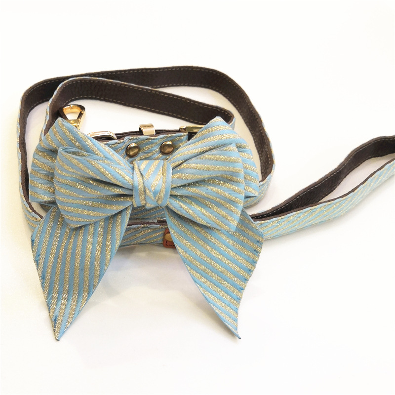 New Products Pet Collar Bow Set Teddy Bull Dog Traction Pet Supplies