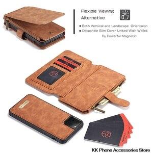 Image 4 - להסרה Flip עור טלפון מקרה עבור iPhone 11 פרו מקסימום מקרה יוקרה תכליתי רוכסן ארנק כיסוי עבור iPhone 11 מקרה fundas