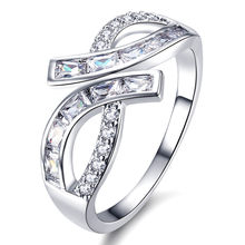 Fashion irregular Full AAA zircon diamonds Rings for women femme white gold silver tone bling luxury jewelry anillos bijoux gift(China)