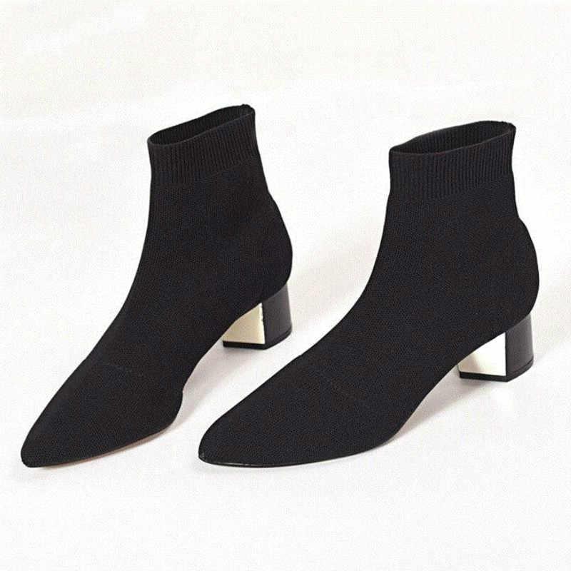 LZJ 2018 sonbahar kış yeni örme elastik çorap botları katı orta topuklu kısa çizmeler kadın nokta ayak yarım çizmeler S1062