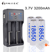 цена на PALO 2Pcs/4Pcs 3200mAh 3.7V 18650 li-ion Rechargeable Batteries +LED Smart Charger for AA AAA 18650 14500 16350 Led Flashlight