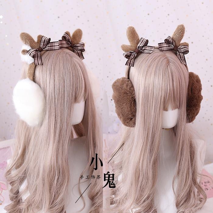 Japanese-style Plaid Bow Earmuff Autumn And Winter Women's Cute Antlers Christmas Nursing Ear Earmuff Autumn & Winter