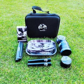 Kit de lijado de Metal para tabaco recipiente hermético de plástico para hierbas, amoladora de fumar de aleación de Zinc, tamaño King