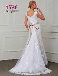 Image 2 - Çift omuz Cap Sleeve dantel Mermaid düğün elbisesi es kanat saf beyaz Custom Made büyüleyici gelin düğün elbisesi W0070