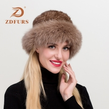 ZDFURS* Real Mink Fur Hat Caps Russian Winter With Fox Trim for Female Women Knitted Natural Beanie Hats New