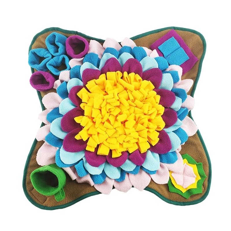 Собака нюхательный коврик запах носа обучение, коврик для собак игрушка-головоломка медленно кормушки Еда диспенсер ковер моющиеся 50x50cm