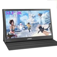 13.3 Polegada portátil computador monitor pc 2k 2560x1440 hdmi ps3 ps4 xbo x360 ips lcd display led para raspberry pi ganha 7 8 10 caso