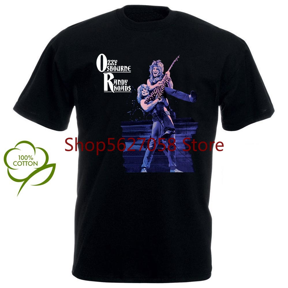 OZZY OSBOURNE <font><b>RANDY</b></font> <font><b>RHOADS</b></font> NEW SHORT LONG SLEEVE BLACK T-SHIRT image