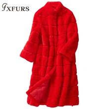 2019 Real Fur Coat Winter Jacket Women Natural Rex Rabbit Thick Warm Stand Collar Three Quarter Sleeve Streetwear