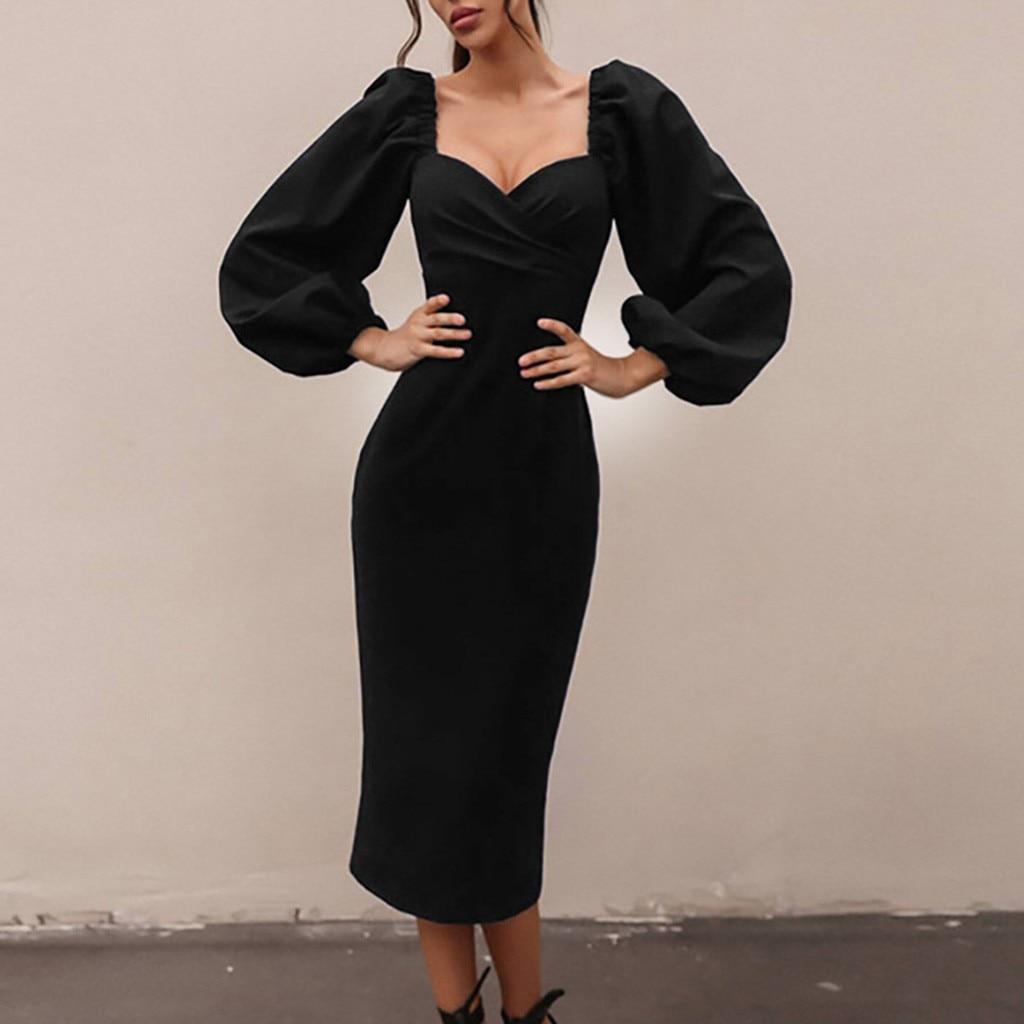 Puff Sleeve Elegant Midi Dress Women Autumn Black Solid Bodycon Dresses Ladies Casual Vintage Dress Autumn Office Vestidos#4