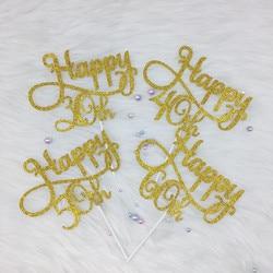 Персонализированные возраст день рождения торт Топпер 30th, 40th, 50th, 60th возраст с днем рождения передовые блестящие топперы золото/серебро/чер...