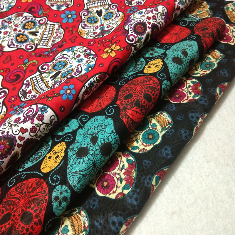 30cm 3pcs Vintage Punk Cool Halloween Flower Skull Printed Cotton Fabric Bundle Patchwork DIY Sewing Doll Cloth Party Home Decor(China)