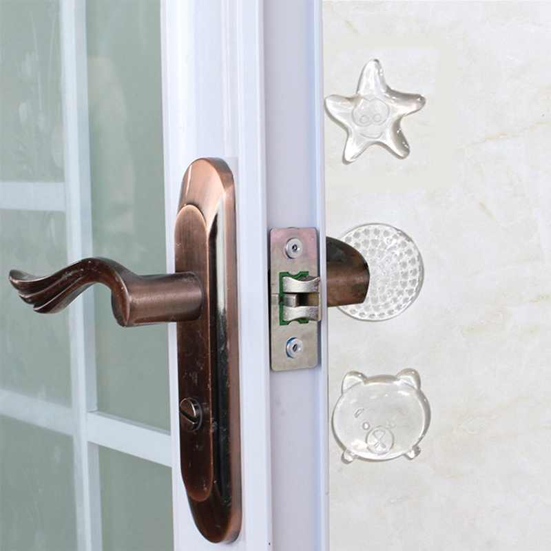 1PCS Transparent Door Handle PU Crash Pad Protection Safety Shock Absorber Security Door Stoppers Wall Starfish Shape Protectors