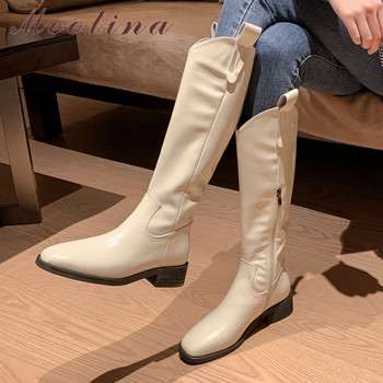 mid calf boots 6cm high heels women shoes knee high block heel boots crystal black white red fashion ladies boots plus size 43 Meotina Knee High Boots Women Shoes Real Leather Mid Heel Westren Boots Block Heels Zipper Long Boots Ladies Autumn Winter Beige