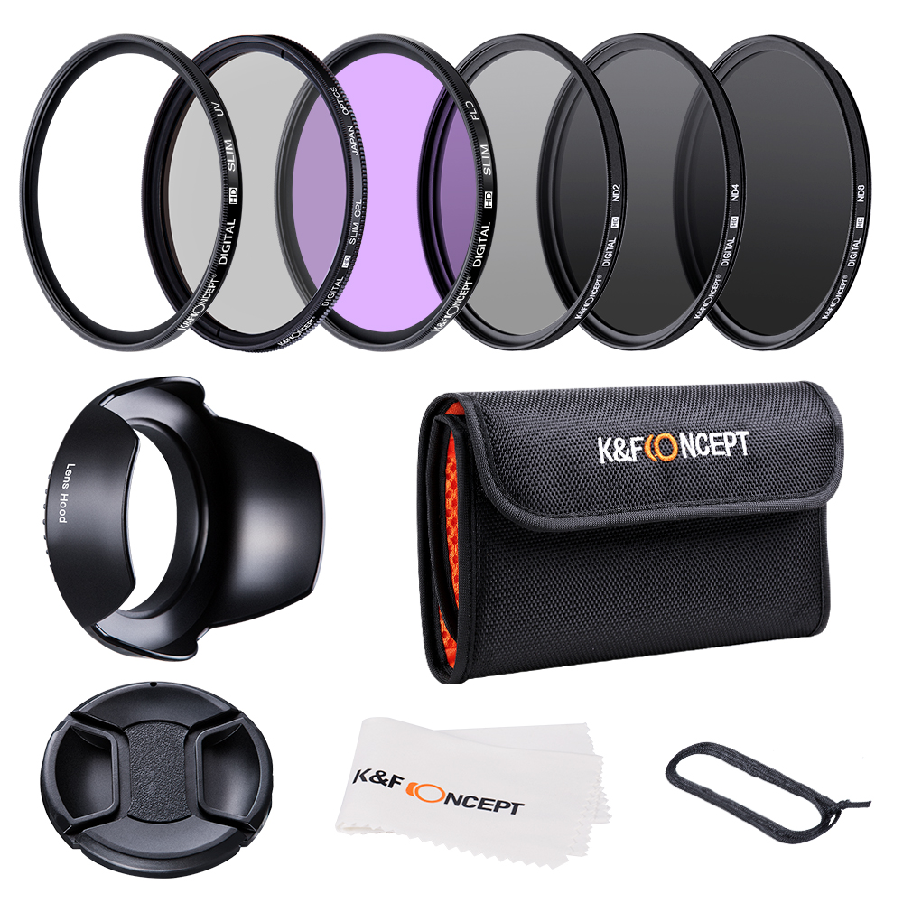 K&F CONCEPT 52/58/62/67/72/77mm UV CPL FLD ND2 ND4 ND8 Lens Filters Kit With 4 Gifts For Nikon Canon Sony Tamron
