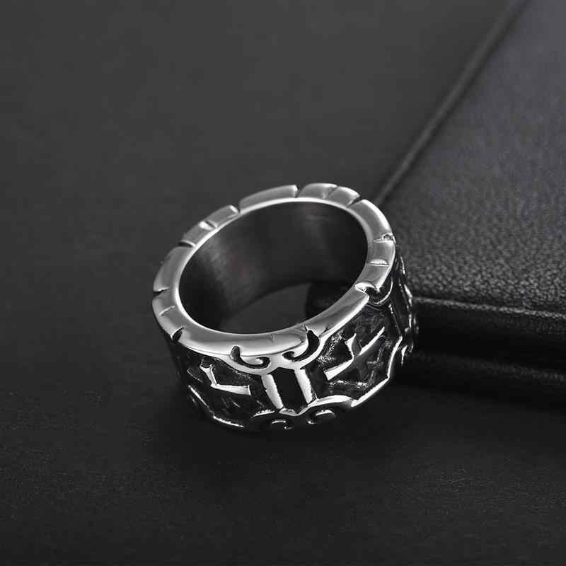 Jiayiqi VINTAGE Silver CROSS แหวนสำหรับผู้ชายผู้หญิง Christmas PARTY เครื่องประดับอินเทรนด์ Gothic 316L สแตนเลสแหวน Anillo