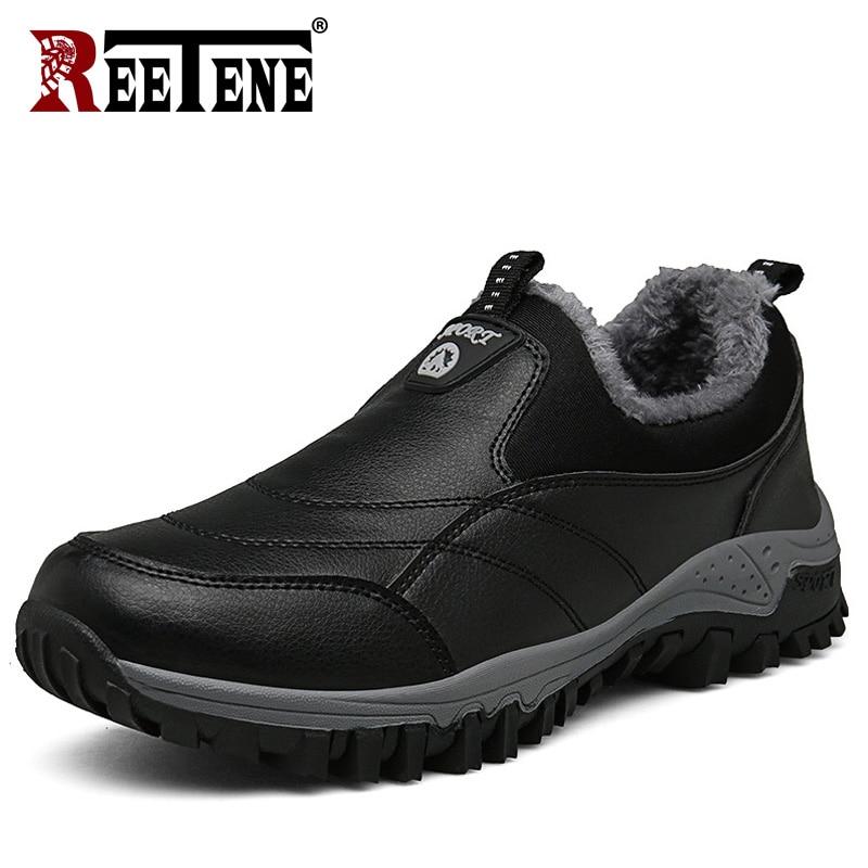 REETENE New Fashion Men Boots New Fashion Men Boots Casual Men Winter Boots Shoes Warm Fur Plush Winter Shoes Free Shipping