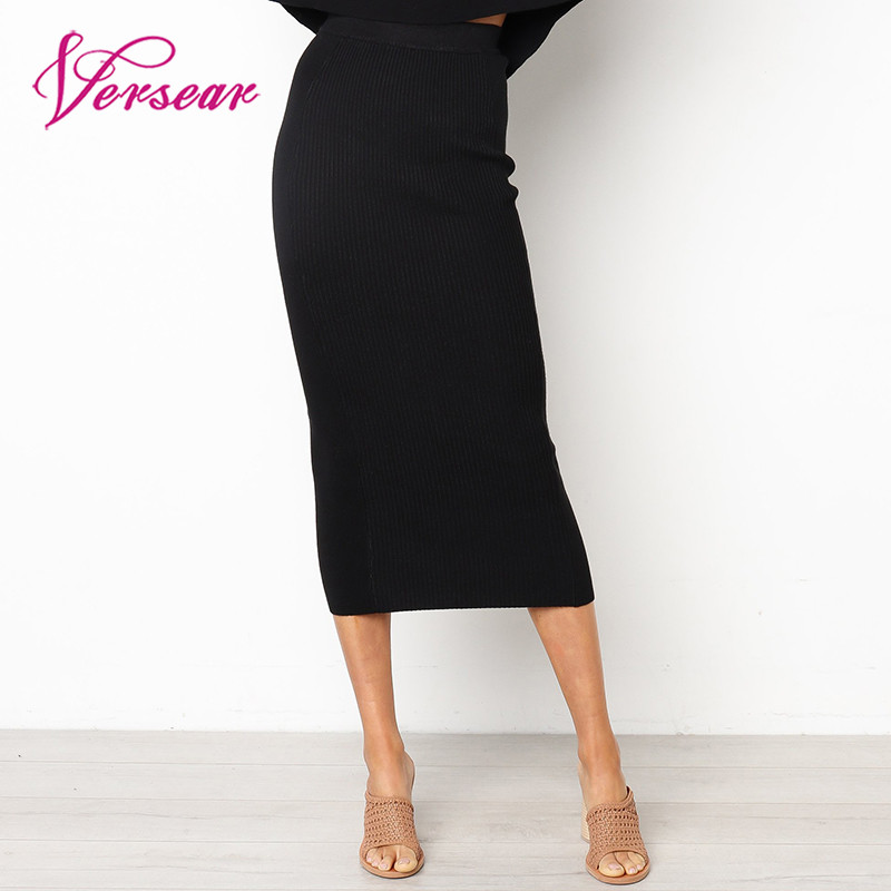 Women Fashion Skirt Elastic High Waist Slim Straight Midi Skirt Bodycon Sexy Solid Skirts Black White New Female Faldas Saia