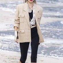 Vintage Golden Single-Button Tweed Jacket Coat 2019 Autumn Winter Fashion Pocket