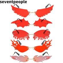 Luxury Fashion Flame Sunglasses Women Rimless Bat Sun Glasses Tears Shades Eyeglass Vintage Feather Sunglass Fire Shape Eyewears