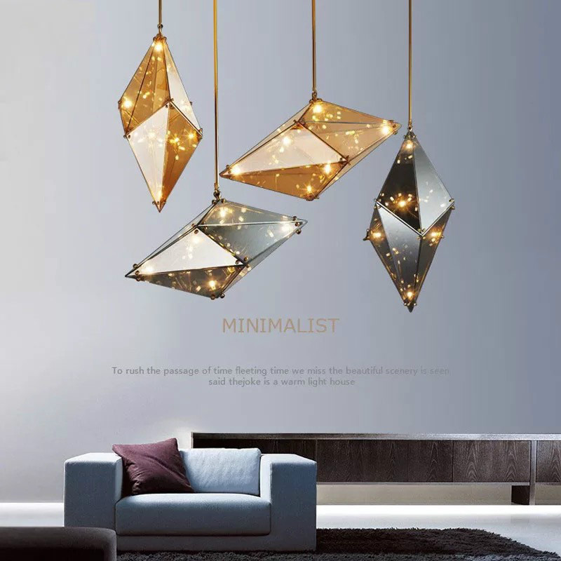 Nordic Creative Diamond Glass Pendant Lights Post-modern Personality Hanging Lamps Living Room Dining Room Decor Light Fixtures